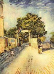 Vchod do parku jednoho slunečného dne, Paříž, léto 1887, černí křída a akvarel, 31,5×24, Národní muzeum Vincenta van Gogha, Amsterdam.