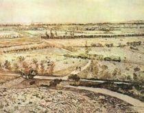 Krajine u Montmajour se silnicí a tratí Arles - Orgon, Arles, uprostřed července 1888, pero a černá křída, 49×61, Britské muzeum, Londýn.