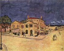 'Žlutý dům' na náměstí Lamartine v Arles, Arles, září - říjen 1888, křída, pero, hnědý inkoust, akvarel a běloba, 25,5×31,5, Národní muzeum Vincenta van Gogha, Amsterdam.