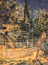 Cihlové schody v zahradě nemocnice Sv. Pavla, Saint-Rémy, červenec 1889, černá křída, tužka, štětec, hnědý inkoust a akvarel, 63×45, Národní muzeum Vincenta van Gogha, Amsterdam.
