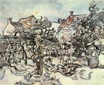 Stará vinice a selka, Auvers, konec května 1890, tužka a štětec, 43,5×54, Národní muzeum Vincenta van Gogha, Amsterdam.