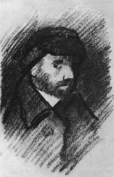 Autoportrét, Anverpy, 1885, černá křída, 19,7×10,9, Národní muzeum Vincenta van Gogha, Amsterdam.