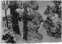 Cesta borovým lesem, Saint-Rémy, květen - podzim 1889, černá křída, 20,5×30, Národní muzeum Vincenta van Gogha, Amsterdam.