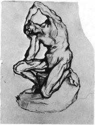 Studie sádrového klečícího muže, Paříž 1886, tužka, pero a černý inkoust, 32,5×24,5, Národní muzeum Vincenta van Gogha, Amsterdam.