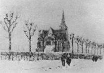 Kostel v Tongelre v zimě, Nuenen, prosinec 1883, tužka, pero a inkoust, 20,5×28,5, Národní muzeum Vincenta van Gogha, Amsterdam.