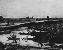 Krajina se zuhenatělými pařezy, Drenthe, říjen 1883, pero a tužka, 31×37,5, Sbírka Johna Goeleta, Boston.