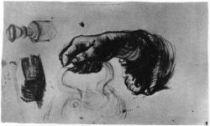 Studie pravé ruky, Nuenen, duben 1885, černá křída, 21×34,5, Národní muzeum Vincenta van Gogha, Amsterdam.