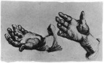 Studie rukou, černá křída, 21×34,5, Národní muzeum Vincenta van Gogha, Amsterdam.