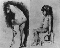 Studie torza sádrové figuríny - sedící chlapeček chudé služky, Paříž, Anfang 1886, černá křída, uhel a tužka, 47,5×61,5, Národní muzeum Vincenta van Gogha, Amsterdam.