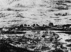 Močál s lekníny (podepsáno: 'Vincent'), Etten, červen 1881, tužka, pero, 23,5×31, soukromá sbírka.