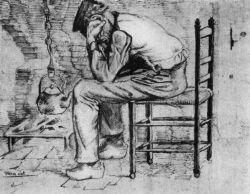 Vyčerpaný muž (dole napsáno: 'Worn aout. Vincent'), Etten, září 1881, tužka a akvarel, 23,5×31, Nadace P. a N. de Boer.