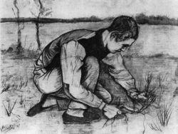 Klečící chlapec se srpem (podepsáno: 'Vincent'), Ette, říjen 1881, černá křída a akvarel, 47×61, Národní muzeum Kröller-Müller, Otterlo.