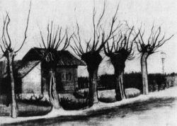 Dům traťového hlídače (dole napsáno: 'Atelier Vincent'), Etten, po 12. říjnu 1881, uhel a běloba, 44×59,5, Národní muzeum Kröller-Müller, Otterlo.