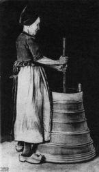 Žena s máselnicí, Etten, listopad 1881, černá křída, akvarel, pero, tužka, běloba, 55×32, Národní muzeum Kröller-Müller, Otterlo.