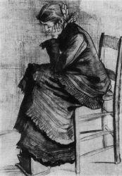 Vincent van Gogh - Sedící, Haag, duben 1882, tužka, pero a štětec, 58×43, Národní muzeum Kröller-Müller, Otterlo.