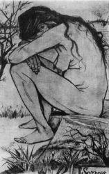 Smutek (dole napsáno: 'Vincent del', 'Sorrow' a 'Comment se fait-il qu'il y ait sur la terre une femme seule-délaissé. Michelet'), Haag, duben 1882, černá křída, 44,5×27, Sbírka madam Epsteinové,
