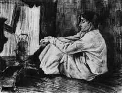 Sien s doutníkem (dole napsáno: 'Port. Vincent'), Haag, duben 1882, tužka, černá křída, pero, běloba, 45,5×56, Národní muzeum Kröller-Müller, Otterlo.