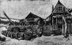 Sušení košů (dole napsáno: 'Scharrendroogerij in de duinen Scheveningen Vincent'), Haag, červen 1882, tužka, pero, běloba, 28,5×45, Soukromá sbírka, Basel.