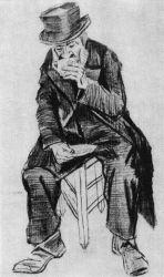 Piják kafe v chudobinci, Haag, listopad 1882, tužka a černá křída, 49×29, Národní muzeum Kröller-Müller, Otterlo.