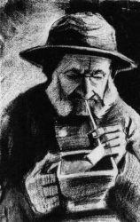 Hlava chudáka s dýmkou a nádobkou s rozžhavenými uhlíky, Haag, leden 1883, tužka, černá litografická křída, 44×28, Nárosní muzeum Vincenta van Gogha, Amsterdam.