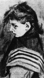 Dcera Sien s šátkem přes rameno, Haag, leden 1883, černá křída, 43,5×25, Národní muzeum Kröller-Müller, Otterlo.