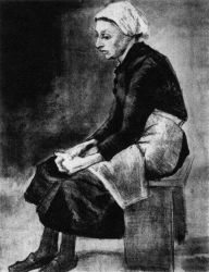 Žena sedící na lavici (dole připsáno: 'Port. Vincent'), Haag, březen - duben 1883, uhel, štětec, černý inkoust, běloba, 56,5×44, Národní muzeum Kröller-Müller, Otterlo.