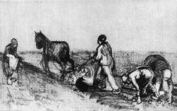Oráč a tři ženy, Drenthe, říjen - listopad 1883, pero a inkoust, 21×34, Národní muzeum Kröller-Müller, Otterlo.