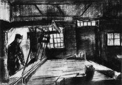 Tkadlec za tkalcovským stavem (dole připsáno: 'Port. Vincent'), Nuenen, únor 1884 nebo trochu později, pero a inkoust, černá křída, tužka a akvarel, 24,5×29,5, Národní muzeum Kröller-Müller, Otterlo.