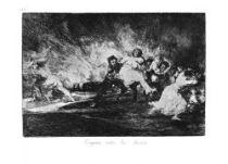 Utíkají skrz plameny. (Los desastres de la guerra, č. 41: Escapan entre las llamas.)