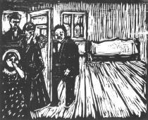 Smuteční návštěva. Dřevořezba. 1904. 49,5 × 50,9.
