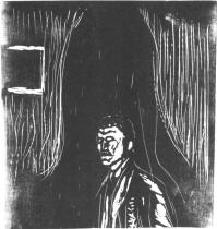 Autoportrét. Dřevořezba. 1906/08. 43,5 × 42.
