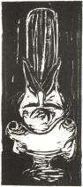 Týl muže v ženském poprsí. Dřevořezba. 1898. 44,6 × 19,4.