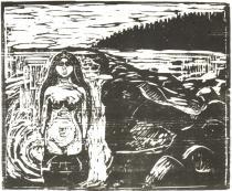 Koupající se dívka (Rusalka). Dřevořezba. 1899. 42,5 × 51,8.