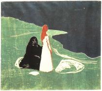 Žena na mořském břehu. Dřevořezba. 1898. 45,4 × 51,1.