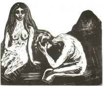Muž a žena. Dřevořezba. 1898. 45,4 × 51,1.