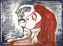 Muž a žena, se líbají. Barevná dřevořezba. 1905. 39,5 × 54.