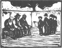 Starci a chlapci. Dřevořezba. 1905. 35,1 × 44,2.