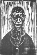 Stařec (Pračlověk). Dřevořezba. 1905. 68,7 × 45,6.