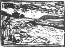 Pradlena na břehu. Dřevořezba. 1903. 30 × 46.