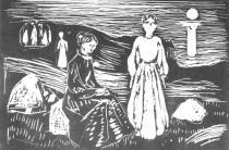 Ženy o letní noci na mořském břehu. Dřevořezba. 1909. 21,7 × 33.