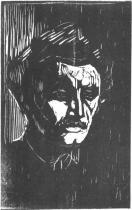 Autoportrét. Dřevořezba. 1911. 53,5 × 35.