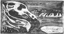 Skalisko v moři. Dřevořezba. 1912. 31,6 × 60.