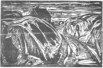Dům na pobřeží. Dřevořezba. 1915. 34,6 × 54,1.
