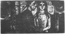 Milenci v jedlovém lese. Dřevořezba. 1915. 32 × 60.