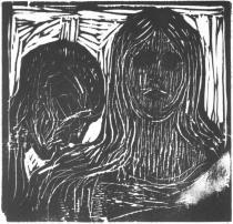 Polibek do vlasů. Dřevořezba. 1915. 15,8 × 16,8.