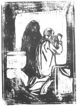 Starcova modlitba. Dřevořezba. 1902. 46,1 × 32,5.