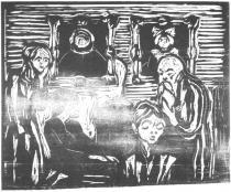 Pokoj nemocné. Dřevořezba. 1920. 49,3 × 60.