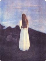 Mladé děvče na pobřeží (Osamělá). Barevná litografie. 1896. 28,7 × 21,8.