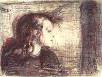 Nemocná dívka. Barevná litografie. 1896. 42 × 56,4.