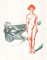 Maratova smrt. Barevná litografie. 1906/07. 44 × 34,5.